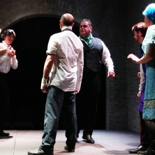 Jean (Patrick Farrelly) argues with Berenger (Brian Bolton)