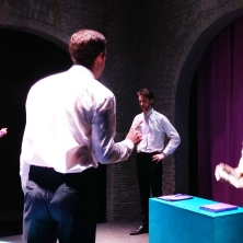 Officer workers argue among themselves - Daisy (Stephanie Allsopp), Botard (Chris Mahony), Mr Papillon (Matthew French) and Duddard (James Hammond)